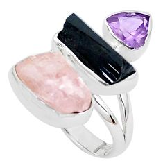 15.53cts natural pink morganite rough amethyst 925 silver ring size 8 p31676
