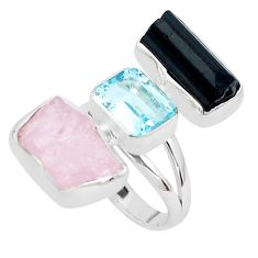 16.92cts natural pink morganite rough blue topaz 925 silver ring size 7 p31680