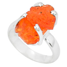 6.27cts natural orange mexican fire opal silver solitaire ring size 4.5 p31947