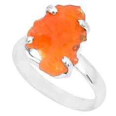 6.61cts natural orange mexican fire opal silver solitaire ring size 10 p31948