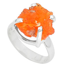 6.27cts natural orange mexican fire opal silver solitaire ring size 4.5 p31955