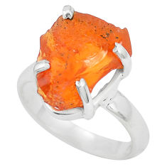 6.61cts natural orange mexican fire opal 925 silver solitaire ring size 7 p31959