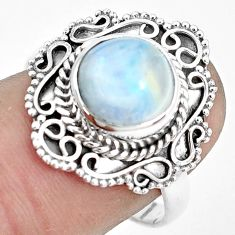 4.82cts natural rainbow moonstone 925 silver solitaire ring size 8 p31983