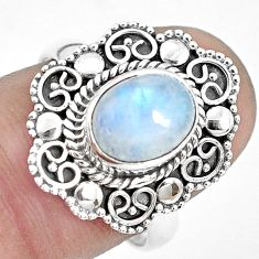 3.47cts natural rainbow moonstone 925 silver solitaire ring size 8 p31995