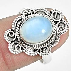 4.08cts natural rainbow moonstone 925 silver solitaire ring size 8 p32008