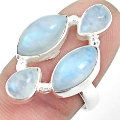 925 sterling silver 13.71cts natural rainbow moonstone ring size 7.5 p32023