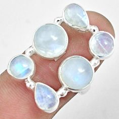 12.62cts natural rainbow moonstone 925 sterling silver ring size 6.5 p32024