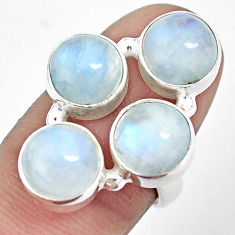 12.40cts natural rainbow moonstone round sterling silver ring size 7.5 p32025