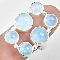 925 silver 10.75cts natural rainbow moonstone round shape ring size 8.5 p32026