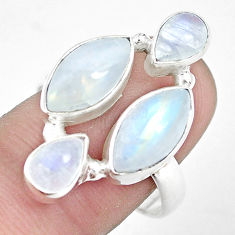 13.71cts natural rainbow moonstone 925 sterling silver ring size 8.5 p32028