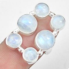 10.74cts natural rainbow moonstone 925 sterling silver ring size 6.5 p32034