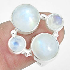 8.70cts natural rainbow moonstone round 925 sterling silver ring size 8.5 p32045