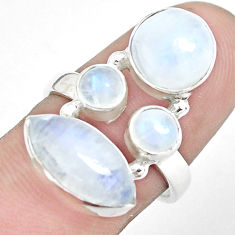 11.00cts natural rainbow moonstone 925 sterling silver ring size 7.5 p32050