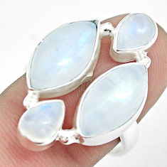 13.07cts natural rainbow moonstone 925 sterling silver ring size 8 p32055