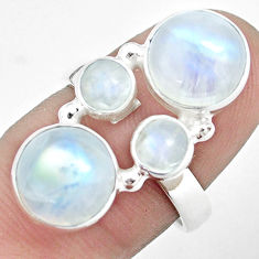 10.70cts natural rainbow moonstone 925 sterling silver ring size 7 p32057