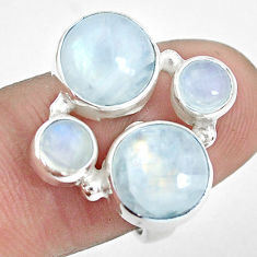 10.70cts natural rainbow moonstone 925 sterling silver ring size 7 p32058