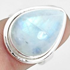14.72cts natural rainbow moonstone 925 sterling silver ring size 6.5 p32080