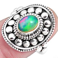 2.10cts natural multi color ethiopian opal silver solitaire ring size 7.5 p32121