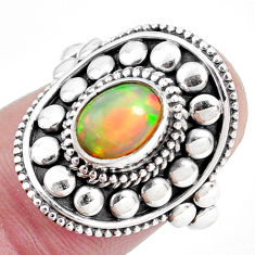 2.01cts natural ethiopian opal 925 sterling silver solitaire ring size 7 p32125