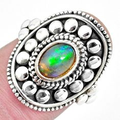 925 sterling silver 2.19cts natural ethiopian opal solitaire ring size 7 p32127