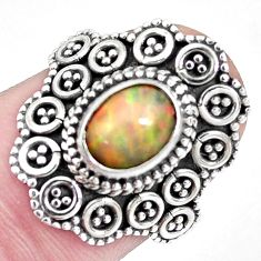 2.10cts natural ethiopian opal 925 silver solitaire ring jewelry size 6.5 p32128