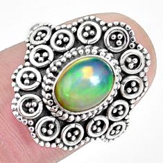 7.36cts natural ethiopian opal 925 sterling silver solitaire ring size 8 p32135
