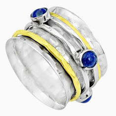 Victorian natural lapis lazuli silver two tone spinner band ring size 7.5 p32190