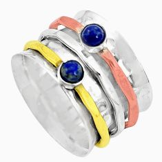 Victorian natural lapis lazuli silver two tone spinner band ring size 7 p32193