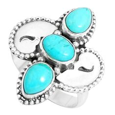 4.78cts green arizona mohave turquoise 925 sterling silver ring size 7.5 p5005