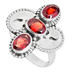 925 sterling silver 4.65cts natural red garnet oval ring jewelry size 8 p5009