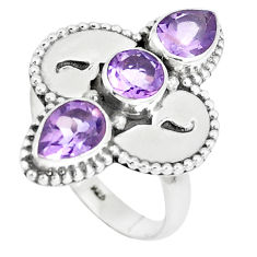 925 sterling silver 4.19cts natural purple amethyst ring jewelry size 7 p5017