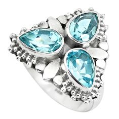 4.92cts natural blue topaz pear 925 sterling silver ring jewelry size 7 p5621