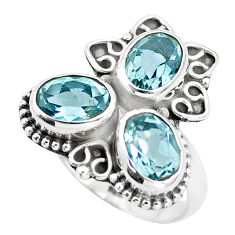 925 sterling silver 5.52cts natural blue topaz oval ring jewelry size 7 p5629