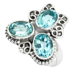 5.75cts natural blue topaz oval 925 sterling silver ring jewelry size 7.5 p5631