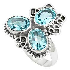 6.04cts natural blue topaz oval 925 sterling silver ring jewelry size 8.5 p5647