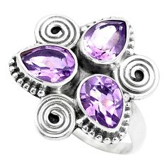 4.43cts natural purple amethyst 925 sterling silver ring jewelry size 7.5 p5662