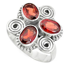 925 sterling silver 4.69cts natural red garnet oval ring jewelry size 7.5 p5672