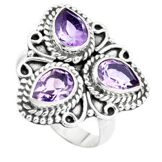 4.73cts natural purple amethyst 925 sterling silver ring jewelry size 7.5 p5700