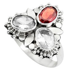 4.42cts natural red garnet white topaz 925 sterling silver ring size 8.5 p5702