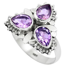 4.69cts natural purple amethyst 925 sterling silver ring jewelry size 8 p5706