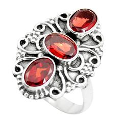 925 sterling silver 4.92cts natural red garnet oval ring jewelry size 6.5 p5710