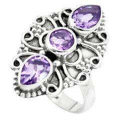925 sterling silver 4.52cts natural amethyst round ring jewelry size 7 p5722