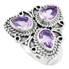 4.74cts natural purple amethyst 925 sterling silver ring jewelry size 7 p5727