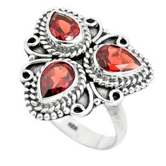 4.94cts natural red garnet pear 925 sterling silver ring jewelry size 8 p5734