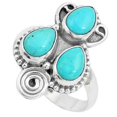 925 sterling silver 4.40cts natural green kingman turquoise ring size 7 p5744
