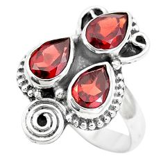 4.25cts natural red garnet pear 925 sterling silver ring jewelry size 6.5 p5750