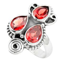 4.68cts natural red garnet pear 925 sterling silver ring jewelry size 7 p5751