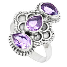 925 sterling silver 4.70cts natural purple amethyst pear ring size 7.5 p5756