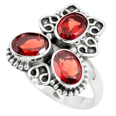 925 sterling silver 4.52cts natural red garnet oval ring jewelry size 7 p5771