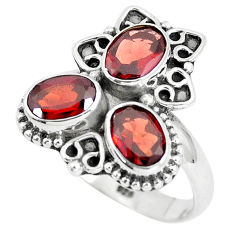 4.30cts natural red garnet 925 sterling silver ring jewelry size 8 p5772